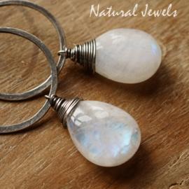 Maansteen zilveren oorbellen
