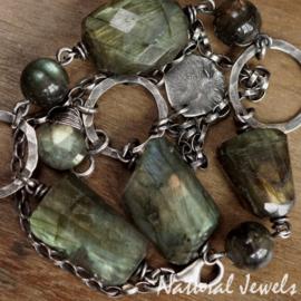 Zilveren Armband groen Labradoriet