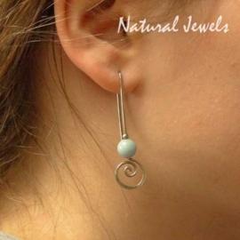 Silver Earrings Amazonite Spirals Hooks