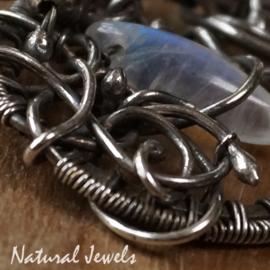 Zilveren Maansteen hanger