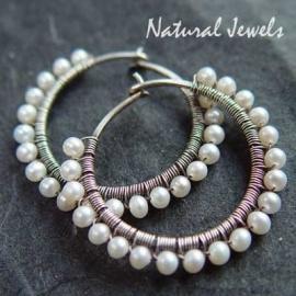 Silver Pearl Hoops