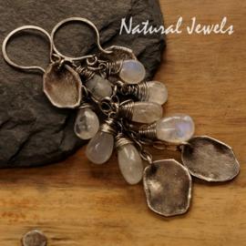Zilveren oorbellen Ancient Moonstone