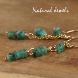 Gouden oorbellen Smaragd heishi