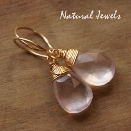 Gouden oorbellen Roze Ametist