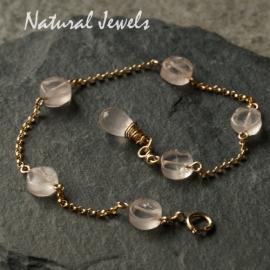 Goldfilled armband met rozenkwarts
