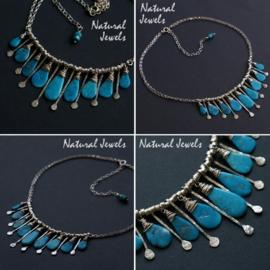Zilveren halsketting Turquoise