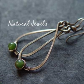 Hammered Drops with Green Jade