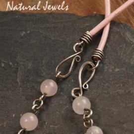Zilveren Boho halsketting Rozenkwarts