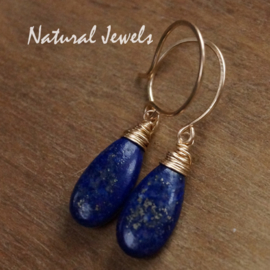 Gouden oorbellen met Lapis Lazuli