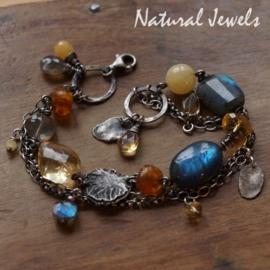Gereserveerd - Zilveren armband gele en blauwe edelstenen