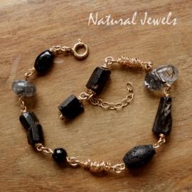 Zwarte edelsteen armband goud