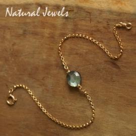 Gouden armbandje of enkelbandje met Munt van Labradoriet
