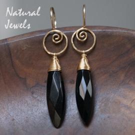 gouden Onyx oorbellen
