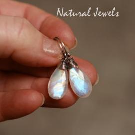 Maansteen oorbellen zilver