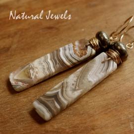 Agaat en Pyriet oorbellen
