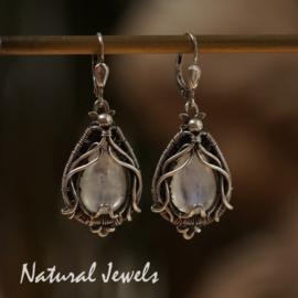 Maansteen in zilver oorbellen