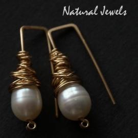 Goldfilled oorbellen Pearlpins
