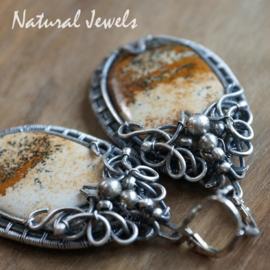 Zilveren Handgemaakte oorbellen Landschapsjaspis