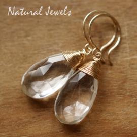 Bergkristal oorbellen