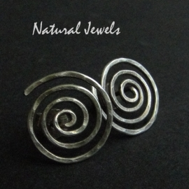 Earrings Big studs Silver Spiral