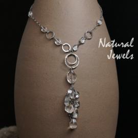 Robuuste zilveren halsketting Bergkristal