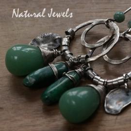 Zilveren oorbellen Robust Green
