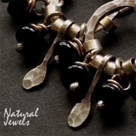 Zilveren oorbellen Onyx Rondellen