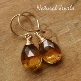 Gouden oorbellen Whiskey Quartz