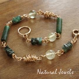 Gouden armband Smaragd Cocoon