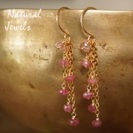 Roze Toermalijn oorbellen goud