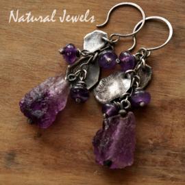 Zilveren oorbellen Ancient Purple