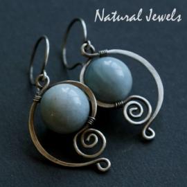 Zilveren oorbellen Elegant Aquamarine