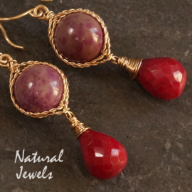 Goldfilled earrings Sugilite and Ruby