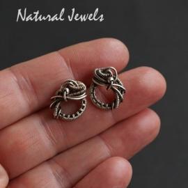 Gereserveerd - Zilveren handgemaakte oorknopjes Wave