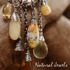 Zilveren edelsteenhanger robuust Geel