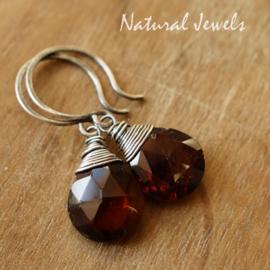 zilveren oorbellen Rode Granaat