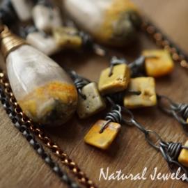 Bumble-bee goud en zilver oorbellen