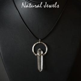 Zilveren hanger Staaf van Bergkristal
