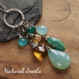 Zilveren handgemaakte hanger Bunch of gemstones