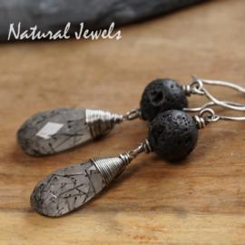 Zilveren oorbellen Rutiel en Lava