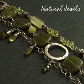 Bracelet Earthy Green Gemstones