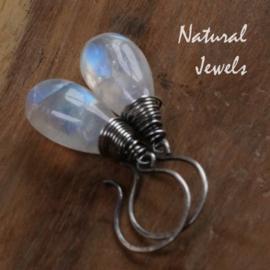 zilveren Maansteen oorbellen AAA