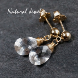 Gouden oorstekertjes Bergkristal