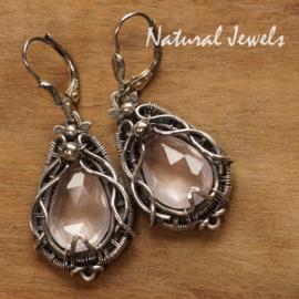 Roze Ametist zilveren oorbellen handgemaakt