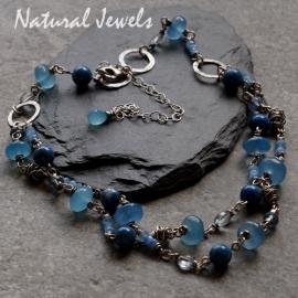 Halsketting Blauwe Chalcedoon