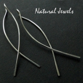 Earrings Elegant silver lines