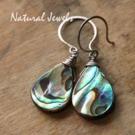 Zilveren oorbellen met Abalone