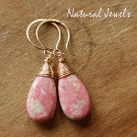 Roze edelsteen oorbellen