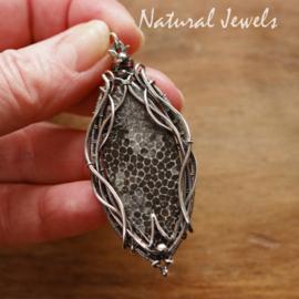Zilveren hanger Zwarte edelsteen