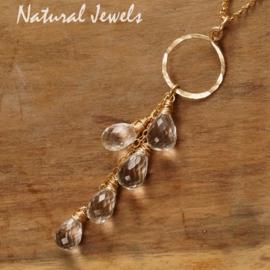 Gouden edelsteenhanger Bergkristal